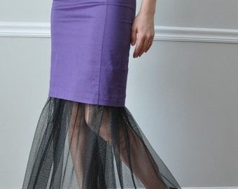 Long Black Glitter Dot One Layer of Tulle Ruffle Petticoat Slip, Steampunk, Gothic, Glamorous Look Bohemian style Halloween  Party -XS - XXL