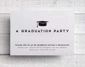 Graduation Party Invitation, Graduation Cap Invitation, Black and White, College Graduation, High School, Graduation Invite, Printable