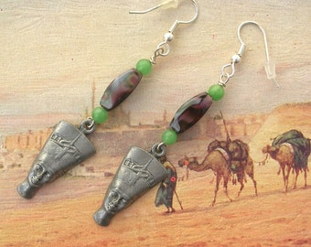 Egyptian Nefertiti Earrings, Green Aventurine & Coffee Brown Glass Swirl Beads, by SandraDesigns