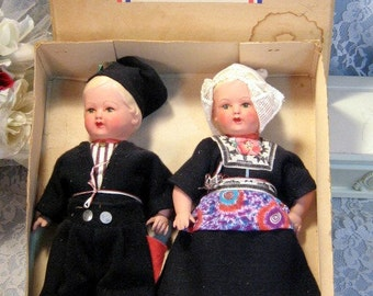 Vintage Composition Dutch Dolls Boy and Girl, Souvenir of Holland, Original Box, 1930s Composition Type Jointed Dolls, Doll Collection