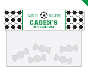 Soccer Party - Personalized DIY printable treat bag label - Choose green, red, blue or pink
