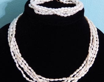 STORE CLOSING SALE 14k Cultured Fresh Water Pearl Necklace and Bracelet Set Bridal