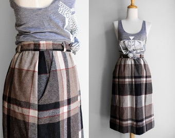 Vintage Acrylic Wool Blend Plaid Skirt, Black Tan and Hint of Red - SMALL