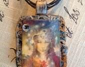 SERPENTINE GODDESS, wearable art pendant, Susan Seddon Boulet, divine feminine, sacred feminine, triple goddess, pagan, Wiccan, priestess