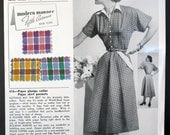 VINTAGE 1950s Salesman Sample Card Fabric Swatches Dan River Gingham Dress Style 616