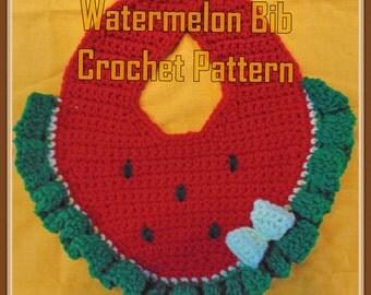 Watermelon  Bib Crochet Pattern - INSTANT DOWNLOAD