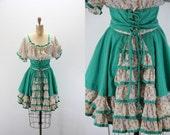 Vintage Dress  Dirndl Style - Costume - Ruffled Tiered Skirt