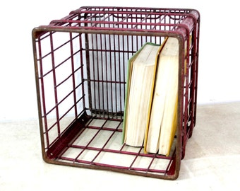 Vintage Wire Milk Crate / Industrial Storage Wire Basket Crate / Sunny Slope Milk Co.