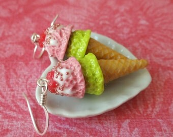 Raspberry and lime ice cream cone earrings