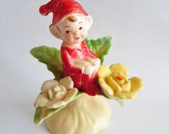 Vintage Pixie Elf Figurine Plastic Gnome Figure