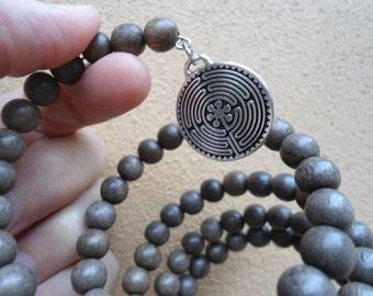 108 Bead Mala Bracelet Labyrinth Charm Japa Mala  Zen Meditation Mens Yoga Bracelet Prayer Beads Grey Wood Mala Beads Yoga Jewelry Gray Wood