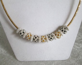 Golden Goddess Diva Necklace - Euro Beads  - Bold and Sassy - 3 Different Looks