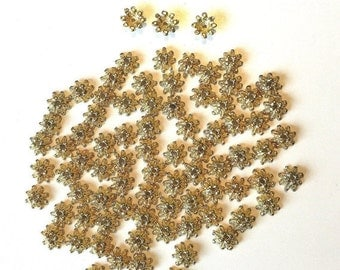 Gold Bead Caps 75 Flower Findings for jewelry making supplies destash