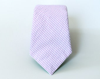Men's Tie - Pink Seersucker - Classic Pale Pink Stripe pink seersucker tie Seersucker Necktie light pink and white striped tie Groomsmen Tie