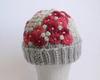 Vintage Floral Crewel Work Knit Beanie - Wool Beanie