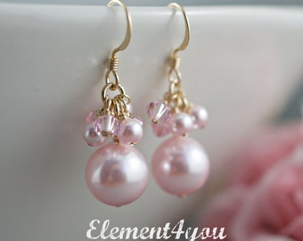 Bridesmaid earrings Bridal party gift Maid of honor gift Wedding jewelry Swarovski pearls Gold earrings Pink pearls crystals cluster drop