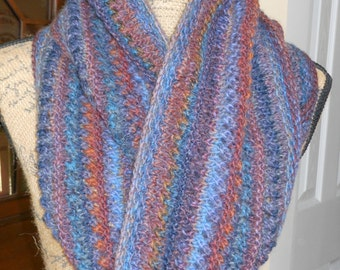 Scarf - Multi Colored Infinity Lace Cowl (Predominantly Blues, Purples, and Rust)