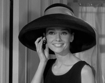 Audrey Hepburn Hat Photo Movie Still from 1961 Film Breakfast At Tiffany's 1950s 60s Glamour Hollywood Celebrity Fashion Photography Print