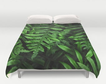 Duvet Cover - Comforter Cover - Green Fern Leaves Leaf - Nature Bedding - Blanket Cover - King Queen Full Twin