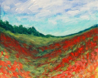 "Poppy Landscape Painting 8 x 8 Acrylic on Canvas titled ""Scarlet Fields"" Red Poppies Blue Skies Trees Contemporary Art Painting"