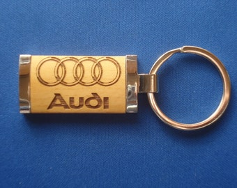 Audi Keychain - Wood Key Chain for Audi Lovers - Laser Engraved .  Great Birthday, Graduation or New Car Gift!