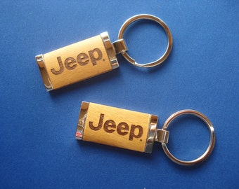 Jeep Key Chain - Laser Engraved Wood Key Chain for Jeep Lovers. Great Birthday Gift, Christmas Gift for Jeep Lovers!