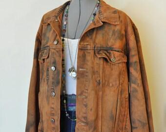 Camel XL Denim JACKET - Rust Orange Hand Dyed Upcycled Wrangler Denim Trucker Jacket - Adult Mens Size Extra Large (48 chest)
