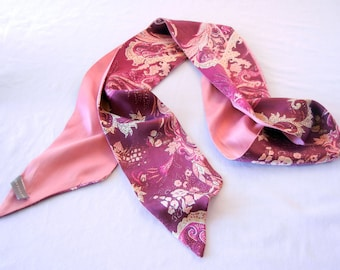 Pink Reversible Silk Sash Scarf, Ann Taylor, Dark Mauve Floral Paisley and Petal Pink, 80s early 90s