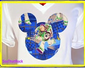 Disney Buzz Lightyear inspired custom t-shirt - for woman or men - you pick shirt coor and size - matching socks avaiable