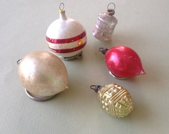 Five Vintage Glass Christmas Ornaments 1940's-50's