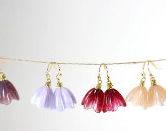 Fuchsia gold flower earrings, wife flower jewelry, lampwork earrings, flower girls, bridesmaids gifts