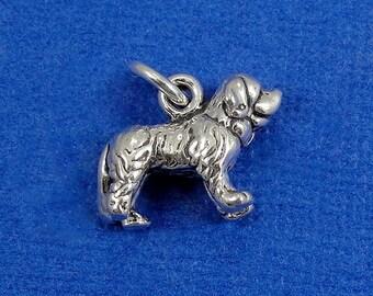 Saint Bernard Charm - Sterling Silver St. Bernard Dog Charm for Necklace or Bracelet