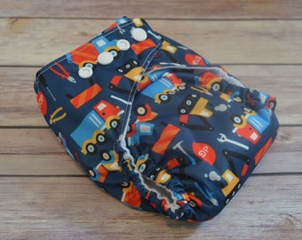 One Size | Cloth Diaper | Pocket Diaper | Swim Diaper | Construction | Handmade | Boy | Washable | Reusable | PUL | baby shower gift