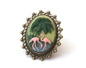 Pink Flamingo Ring, Flamingo Cameo Ring, Antique Bronze Lace Edge Setting, Kitsch, 50s Style, Tropical Ring