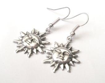 Little Silver Sun Earrings, Dangly Earrings, Drop Earrings, Silver Earrings, Sun Face