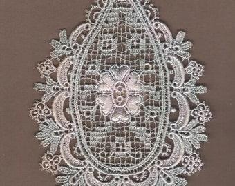 Hand Dyed Venise Lace Edwardian Medallion  Applique  Vintage Sea Blush