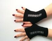 Fingerless gloves  black  short Burlesque Cosplay Costume Steampunk Noir Edwardian Noir wedding Steampunk