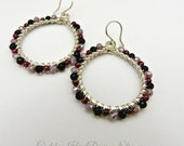 Handmade Wrapped Hoops with Onyx Garnet and Czech Glass Wire Wrapped Jewelry Wire Wrapped Earrings Gemstone Wrapped Earrings Wire Earrings