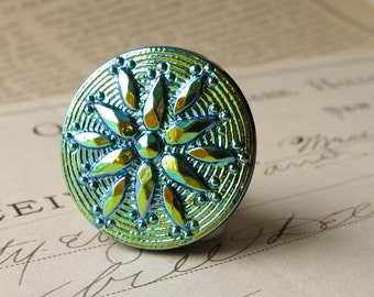 22mm round aqua star flower, Czech glass shankless button, hand painted, hand forged, flat back cabochon, chartreuse, royal blue