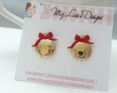 hs-Gold and Red Ornament Stud Earrings