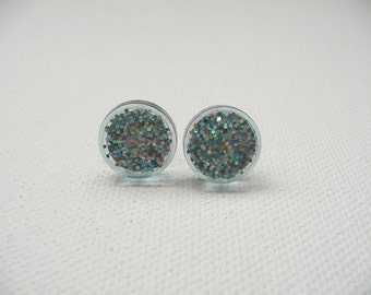 hs-Small Sparkly Blue Round Stud Earrings