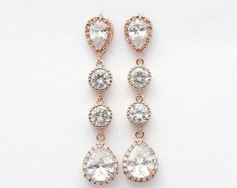 Rose Gold Earrings Wedding Jewelry Cubic Zirconia Teardrop Earrings Rose Gold Bridal Jewelry, Rebecca