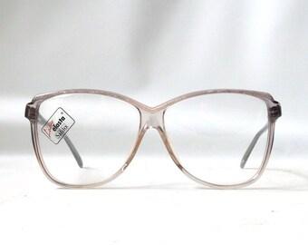 vintage 1970s NOS safilo eyeglasses oversized round snakeskin plastic frames prescription womens eye glasses eyewear italy peach white retro