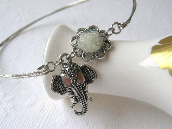 Elephant Bangle Elephant Bracelet Silver Elephant Jewelry Ivory White Stained Glass Elephant Charm Bangle African Elephant Head