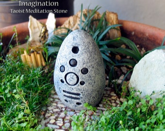 Imagination - Handcrafted Taoist Meditation Altar Stone - Handpainted Clay - Planter and Terrarium Decor - Zen Garden -Mindful Practice