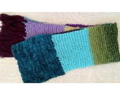 Extra-Long, Color-Blocked Scarf in Deep Jewel Tones of Turquoise, Purple, Green, Blue, and Silver (Unisex)