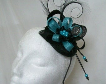 Black and Turquoise Blue Pheasant Curl Feather Sinamay Loop & Pearl Fascinator Mini Hat - 'Custom Made To Order' for a Wedding or the Derby