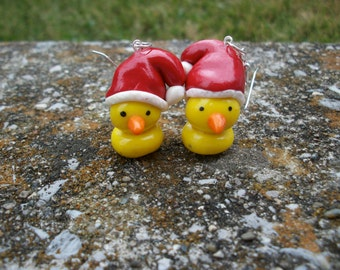 Ducky Christmas Earrings Polymer Clay