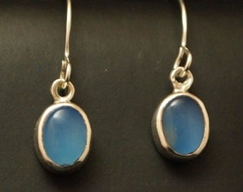 Sterling Silver and Blue Agate Drop Earrings