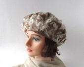 Felted beret winter warm hat Wool beret warm  wool hat Beige Cream Brown ,   Warm winter women hat, felted hat